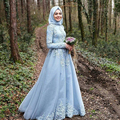 vestido branco Sky Blue Long Sleeve Muslim Evening Dress robe de soiree courte Hijab Turkish Evening Gowns with Lace Custom Made