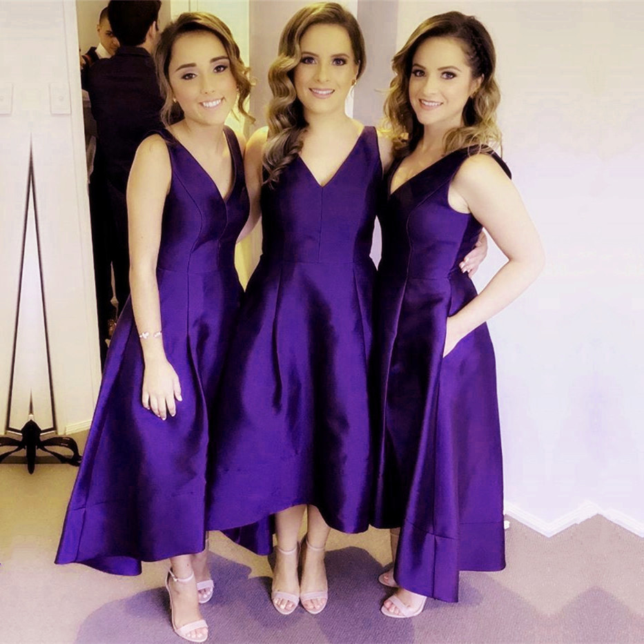 Sexy Deep V Neck Satin Bridesmaid Dresses High Low Hem Style-in ...