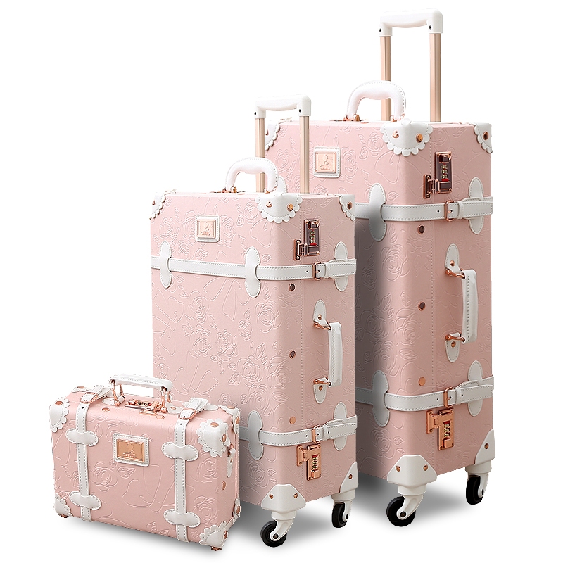 4ba376020 Online Shop 3PCS SET Spinner Wheels Vintage Pink Pu Leather Embossed Suitcase  Women Trunk Vintage Luggages Rolling Luggage for Girls