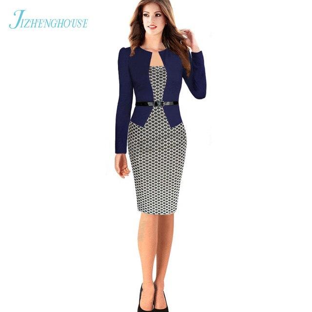 46d2997ff6a72f JIZHENGHOUSE einteiliges Faux Jacke Kurze Elegante Muster Arbeit Kleid  Großhandel Büro Bodycon Weibliche Volle Hülse Etuikleid