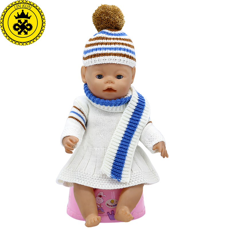 Baby Born Doll Clothes Wool Hand-woven Dress + Hat + Scarf Suit Fit 43cm Zapf Baby Born Doll Accessories Birthday Gifts T-7 baby born doll clothes tiger jackets pants suit fit 43cm zapf baby born doll accessories girl birthday gift x 149