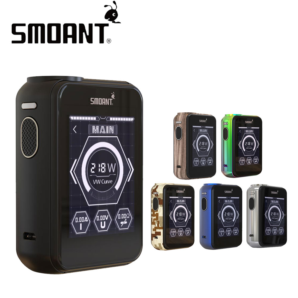 100% Original 218W Smoant Charon TS Touch Screen TC Box MOD No 18650 Battery & 2.4-inch TFT Touch Screen 218W E-cig Box Mod ruru15070 to 218