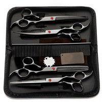 4Pcs/Set Professional Salon Barber Scissors Hairdressing Shears Haircut Tool Kit with Comb for Pet Grooming Hair Styling 7.0