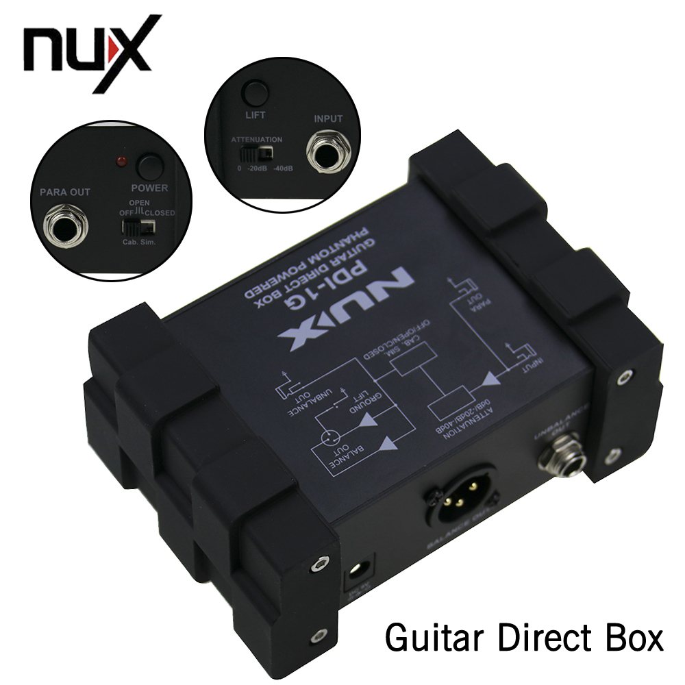NUX PDI-1G Pro-Audio Guitar Direct Injection Phantom Power Box Audio Mixer Para Out Compact Design Metal Housing nux pmx 2 new multi channel line mixer overload indicator 8 in 2 out mixer fit several audio devices for electric guitar bass