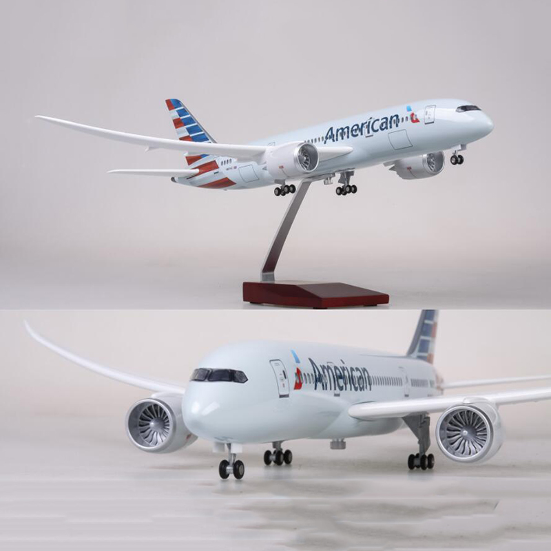 1 130 Scale 47cm Airplane Boeing B787 Dreamliner Aircraft American Airlines Model W Light and Wheel