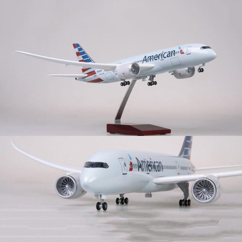 1/130 스케일 47 cm 비행기 보잉 b787 dreamliner 항공기 미국 항공 모델 승 빛과 휠 다이 캐스트 플라스틱 수지 비행기-에서다이캐스트 & 장난감 차부터 완구 & 취미 의  그룹 1