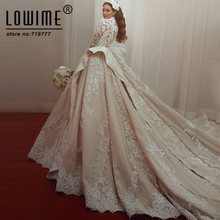 Lowime Dubai Arabic Bridal Gowns Muslim Wedding Dress