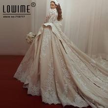 Lowime Dubai Arabic Bridal Gowns Muslim Wedding Dress