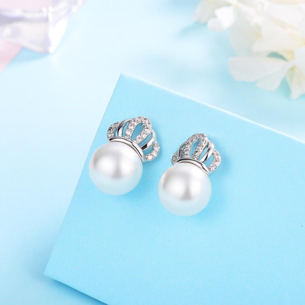 Hongye Real Pearl Crown Stud Earrings For Women Fashion Silver Earrings Natural Freshwater Pearl Stud Earring Wedding Jewelry in Earrings from Jewelry Accessories