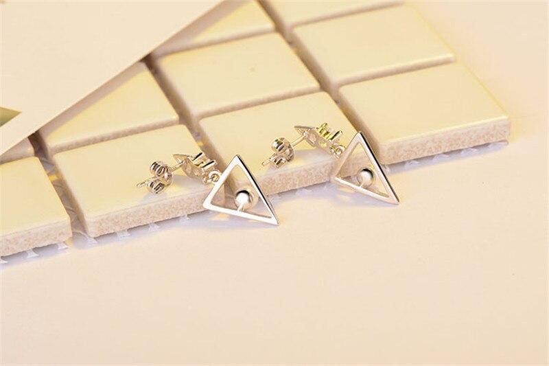 Everoyal Fashion Pearl Triangle Girls Earrings Jewelry Female Vintage 925 Sterling Silver Earrings For Women Wedding Party Bijou in Stud Earrings from Jewelry Accessories