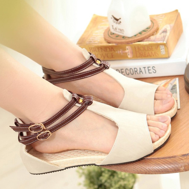 a57e839f8b 2015 Summer Simple Style Girl Sandals Sweet Casual Solid Color Gladiator  Peep-toe Flat With Student Shoes