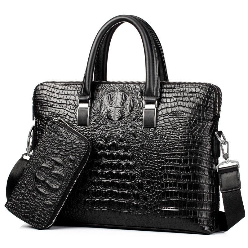 Брендовый портфель, мужская сумка из искусственной кожи, деловые сумки большой вместимости, сумка через плечо из крокодила, мужская сумка д...