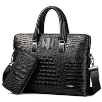 Brand Briefcase Men Handbag PU Leather Men S Business Bags Large Capacity Shoulder Bag Crocodile Crossbody