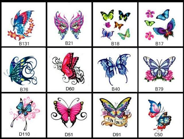 178fba881f4aa 12 Patterns/Set 6*6cm Waterproof Temporary Tattoo Sticker Butterfly Design  Women Girl Body Arm Leg Tattoo