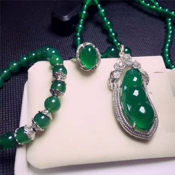 Koraba Fine Jewelry  925 Silver Inlaid Natural Chalcedony Green Beans Pendant Necklace Ring Bracelet Set Gifts Free Shipping