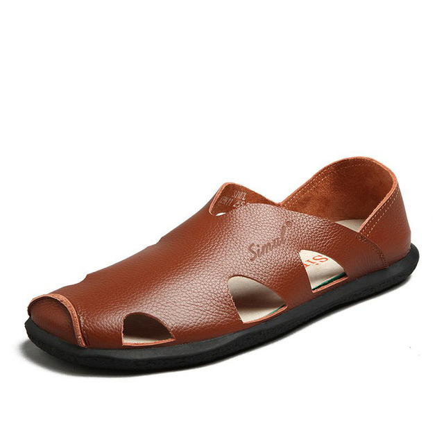 New 2016 Men Closed Toe Gladiator Sandals Cut Outs Slip On Genuine