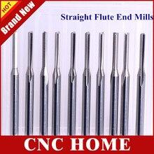 10 pces 3.175*2.0*12mm dois 2 flauta fresa reta cnc fresa carboneto cnc roteador bit para gravura em madeira máquina cnc