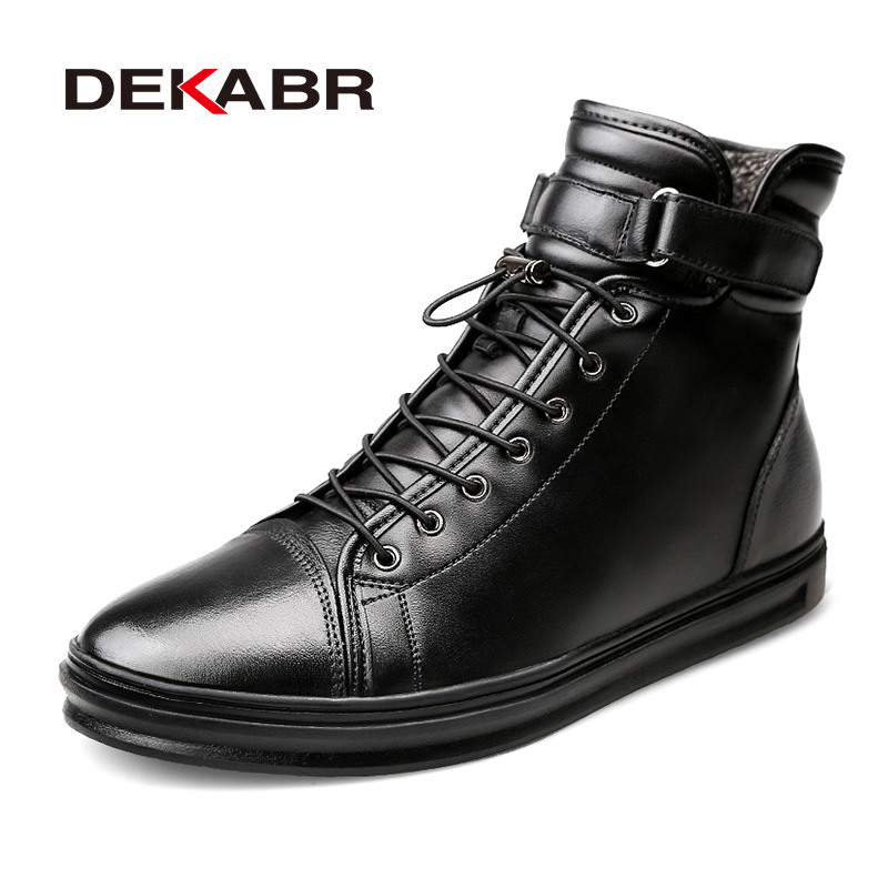 DEKABR Warm Fur Winter Boots Genuine Leather Handmade Comfortable Men Winter Snow Boots Fashion Motorcycle Men