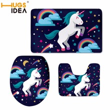 HUGSIDEA 3pcs/set Toilet Seat Cover Unicorn Bathroom Set