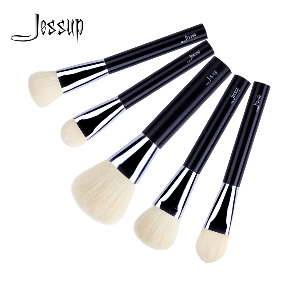 Jessup brushes 5pcs Black Professional Makeup Brushes Set Cosmetics Tools Kits Foundation Blush Powder Brush T112 new jessup brand 5pcs black silver professional makeup brushes set cosmetics tools beauty make up brush foundation blush powder