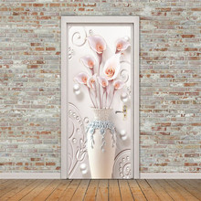 New Wall Door Paste Lily Vase Pattern Stickers Diy Self-Adhesive Waterproof Wallpaper Posters Home Decoration