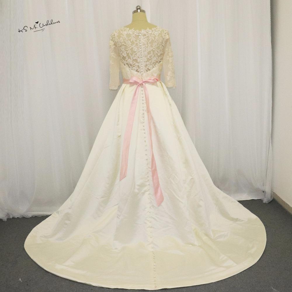 US $18.18 180% OFFVintage Frauen Langarm Muslimische Hochzeitskleid Spitze  18017 Günstige Brautkleider Satin Vestido de Casamento Rosa