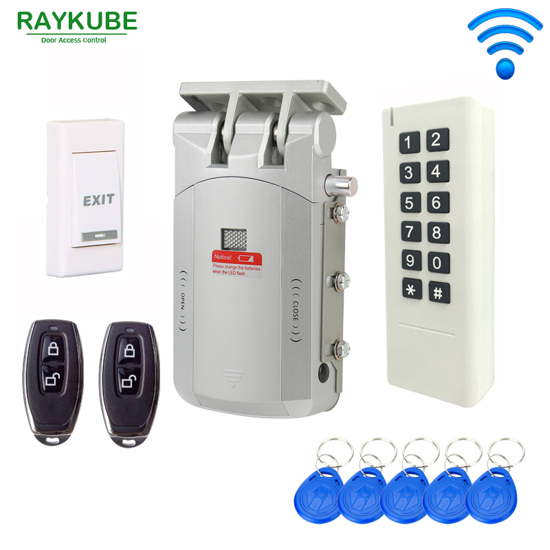 RAYKUBE Wireless Door Access Control System Electric Door Lock RFID Password Keypad Remote Control Open Lock Wireless Full Kit raykube glass door access control kit electric bolt lock touch metal rfid reader access control keypad frameless glass door