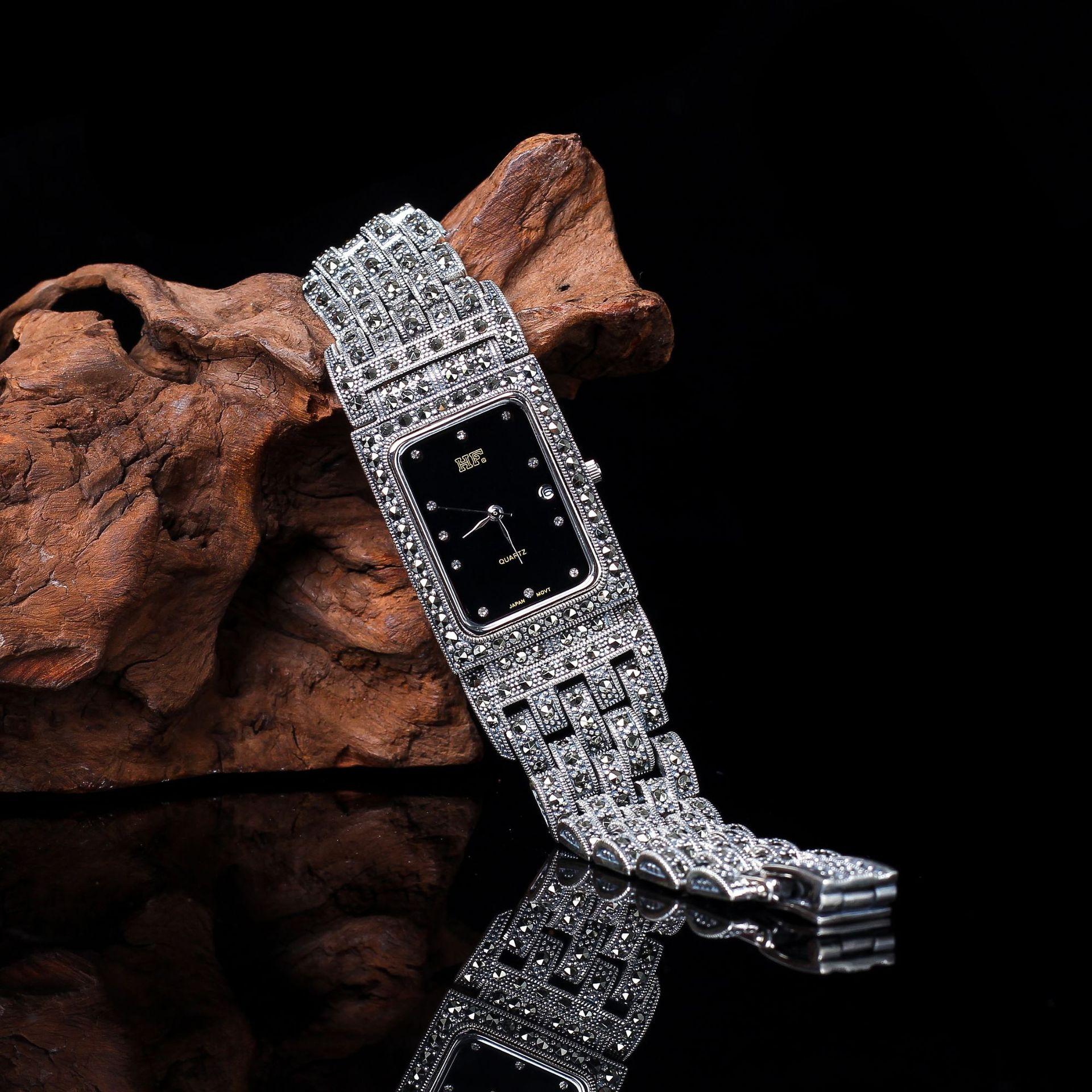 S925 Pure Silver Ornaments Seiko Thai Silver Bracelet Watch Both Men And Women