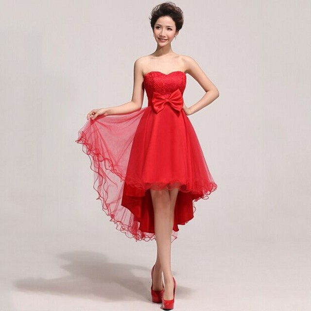 Plus Size Prom Dress Chinese Style Bridal Red Low High Dress To