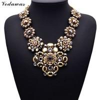 2015 New Design XG081 Long Vintage Statement Necklaces Pendants Gold Crystal Flower Necklace For Women Gothic
