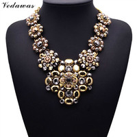 2015 New Design XG081 Long Vintage Statement Necklaces Pendants Gold Crystal Flower Necklace For Women Gothic