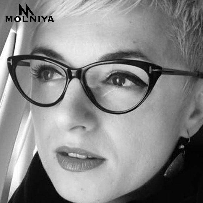 MOLNIYA NEW Cat Eye Glasses Frame Clear Lens Women 2019 Brand Eyewear Optical Frames Myopia Transparent Temples For Glasses