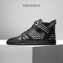 dreambox Autumn/winter British metal rivet punk leisure trend belt sports real leather men's high help board shoes