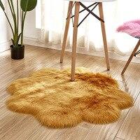Hairy Artificial Sheepskin Fur Fluffy 90cm Flower Shape Faux Carpet Kids Room Long Plush Rugs for Bedroom Shaggy Area Rug