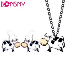 Bonsny Acrylic Smile Milk Cow Dairy Cattle Earrings Necklace Chain Collar Anime Animal Jewelry Sets For Women Girls Teens Gift