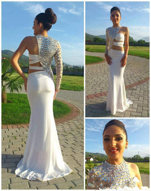 Prom Dresses 2016 Hottest One Sleeve Cut Out Prom Dress Crystal