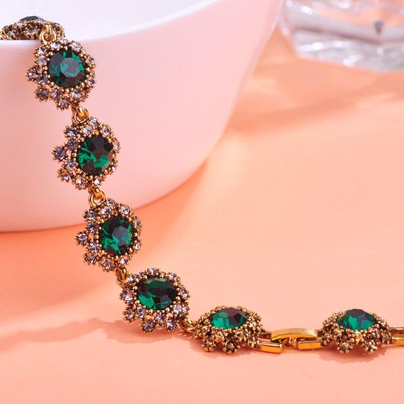 Vintage Women Jewelry Brand Love Bracelets Rhinestones Bangles Pulseras Pulseira Antique Gold Color Party Bijoux Free