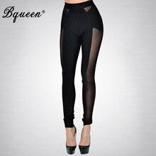Bqueen Fashion Black Mesh Pencil Long Slim Bandage Trousers Women Elastic Sexy Leggings Wholesale