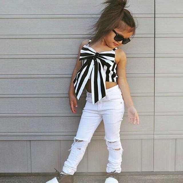 23146508f32 2018 Girls Summer Print Striped Bow Clothes Set Kid Top +Pants 2pcs School  Princess Perform Cute Sport Fashion Clothes Set Hot