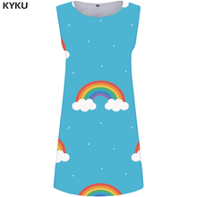 KYKU Rainbow Dress Women Cloud Office Sundress Sexy Space 3d Print Beach Colorful Ladies Dresses Vintage Womens Clothing