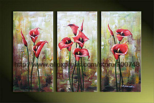 Pure Flowers Oil Painting Red Calla Dining Room Paintings Wall Decor Landscape Canvas Abstract Bed