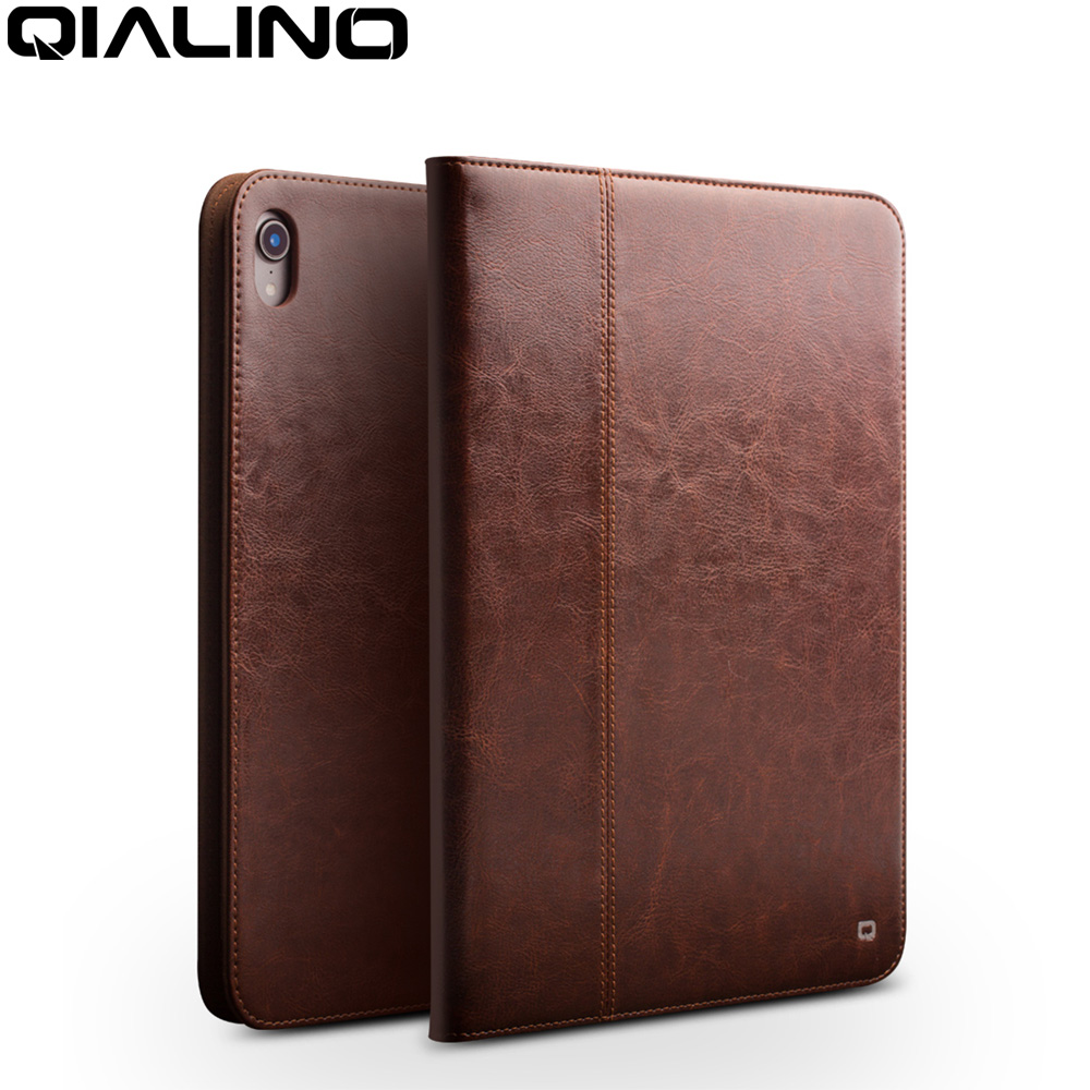 QIALINO Business Genuine Leather Case for iPad Pro 12 9 2018 Ultra Thin Luxury Handmade Stand