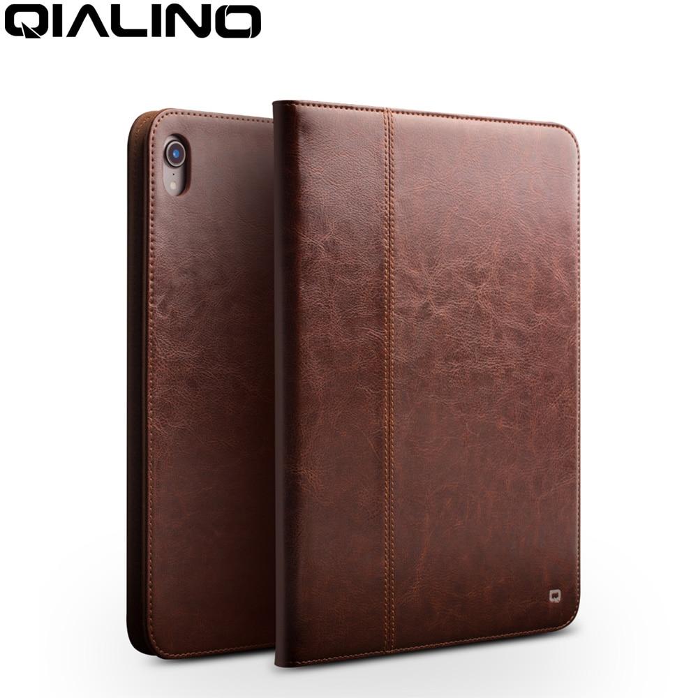 QIALINO Business étui pour ipad Pro 12.9 2018 en cuir véritable Ultra mince couverture de Stand fait main de luxe pour Apple ipad pro 11 pouces