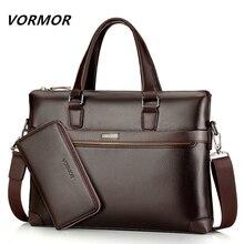 Berühmte Marke Fashion Casual Leder herren 2 Satz Tasche Schultertasche Messenger Bags Geschäftshand Laptop Männlichen Aktentasche