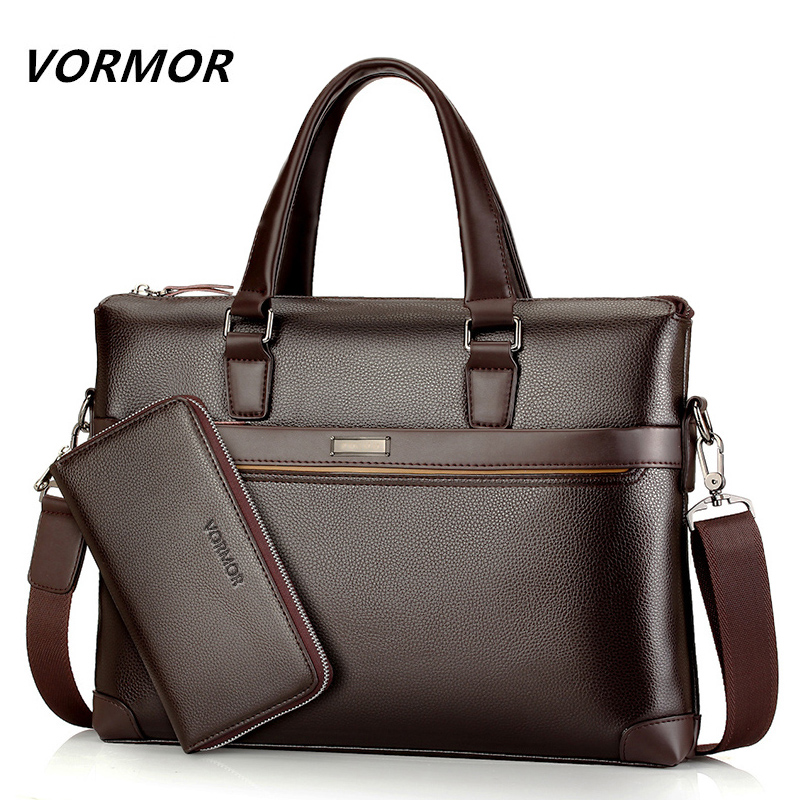 Famous Brand Fashion Casual Leather Men's 2 Set Bag Shoulder Bag Messenger Bags Business Handbag Laptop Male Briefcase