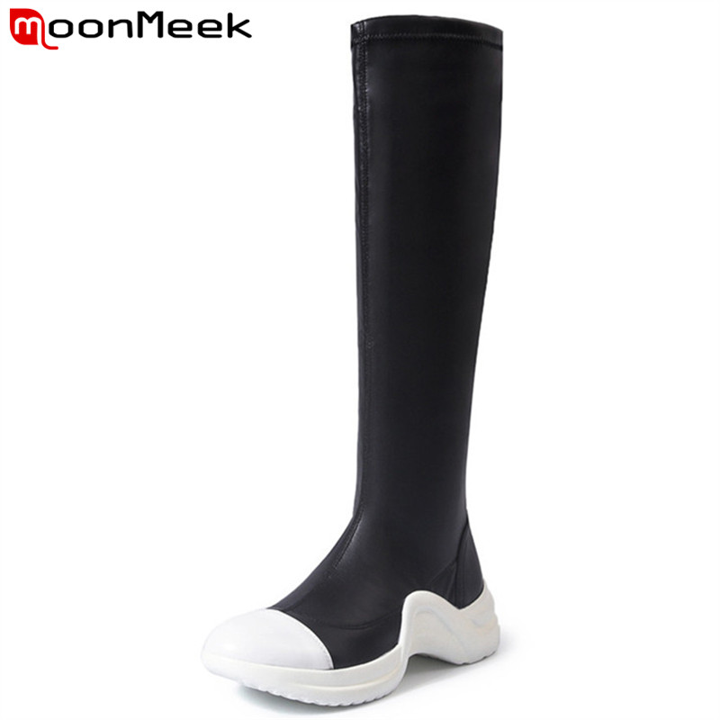 MoonMeek 2018 fashion autumn winter boots round toe knee high boots platform classic pu+cow leather boots women black hot sale цена 2017