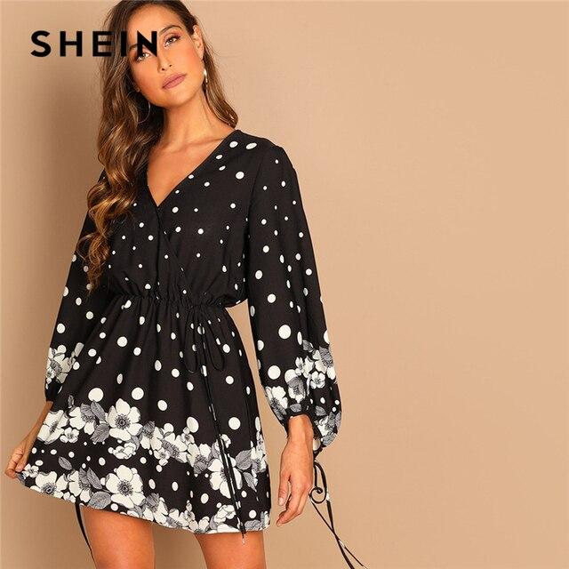 0f0d78110b56 SHEIN Black Knot Polka Dot Knee Length V-Neck Puff Sleeve Floral A-Line  Dress Casual Elegant Women Autumn Modern Lady Dresses