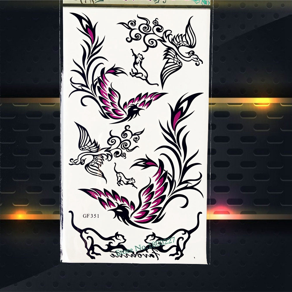Black Phoenix Designs Temporary Tattoo Women Body ARt Men Stickers PGF351 Children Gifts Fake Flash Tattoo Shoulder Stickers