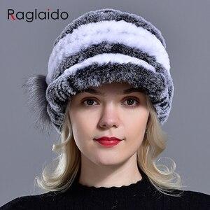 Image 3 - Raglaido Tavşan Kürk Kap Şapkalar Kadınlar Kış Çiçek Gerçek Rex Kürk Şapka Elastik Beanies Sıcak Moda Bayan Kar Şapka LQ11205