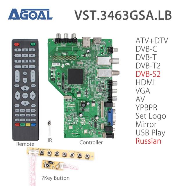 ZL.VST.3463GSA.LB Digital Signal DVB-S2 DVB-T2/T/C Universal LCD TV Controller Driver Board+ 7KEY USB/TV/AV/HDMI/VGA V56 Russian